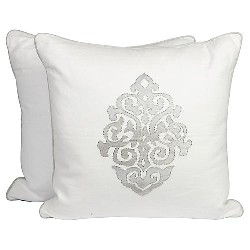 Medallion Linen Pillows, Pair
