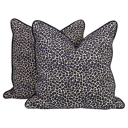 Navy Spotted Leopard Pillows, Pair