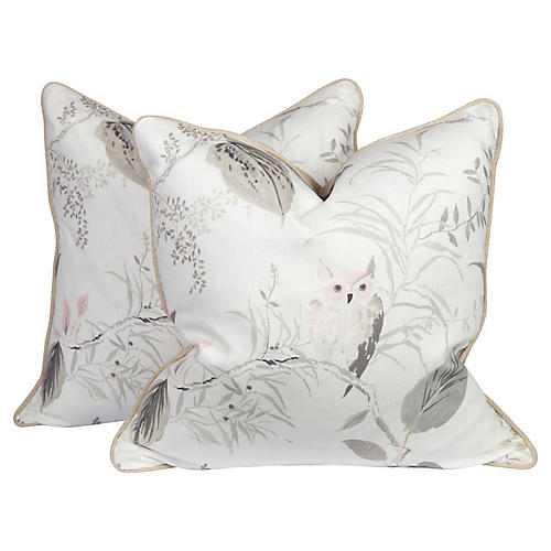 Gray & Blush Linen Owl Pillows, Pair
