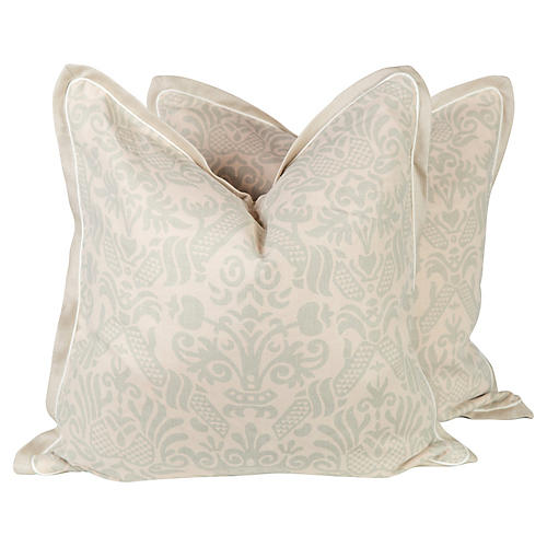 Sea Foam Green Linen Baroque Pillows, Pr