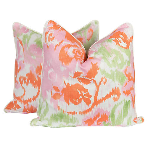 Waterford Floral Linen Pillows, Pair