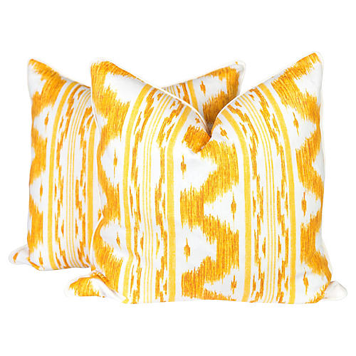 Canary & Ivory Linen Ikat Pillows, Pair