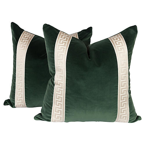 Emerald Green Greek Key Pillows, Pair