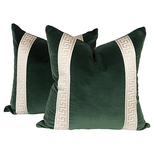 Emerald Green Greek Key Pillows, Pair