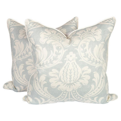 Light Blue Baroque Linen Pillows, Pair