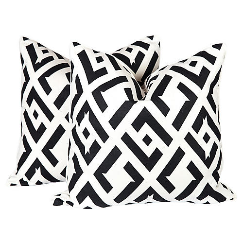 Nero China Club Linen Pillows, Pair