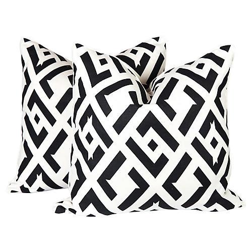 Nero China Club Linen Pillows, Pair