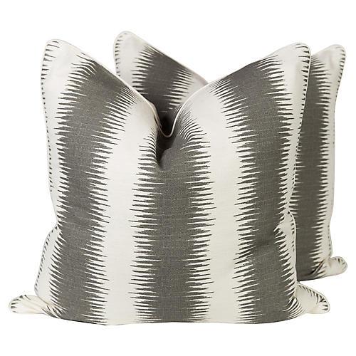 Charcoal Ombré Pattern Pillows, Pair