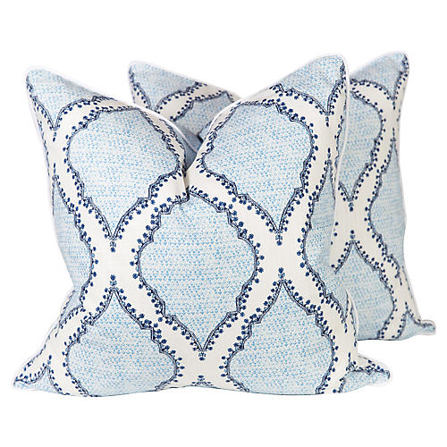 Blue & Ivory Ogee Pattern Pillows, Pair