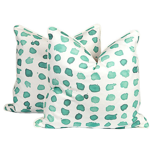Mint Linen Guinea Pillows, Pair