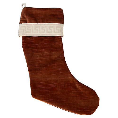 Copper Velvet Greek Key Stocking