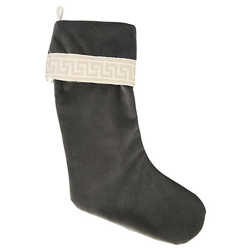 Charcoal Velvet Greek Key Stocking