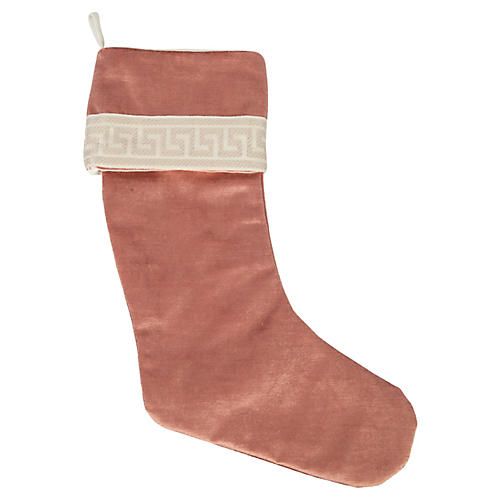 Dusty Rose Velvet Greek Key Stocking
