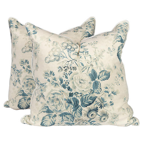 Light Teal Rose Garden Linen Pillows, Pr