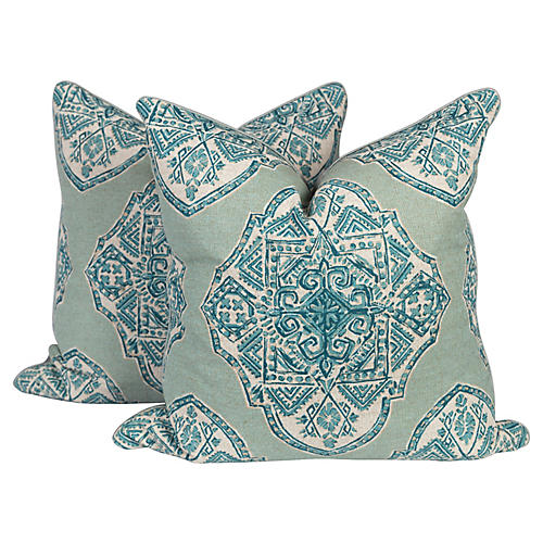 Teal Batik and Silk Pillows, Pair