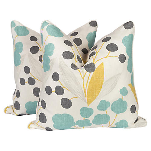 Linen Poppy Floral Pillows, Pair