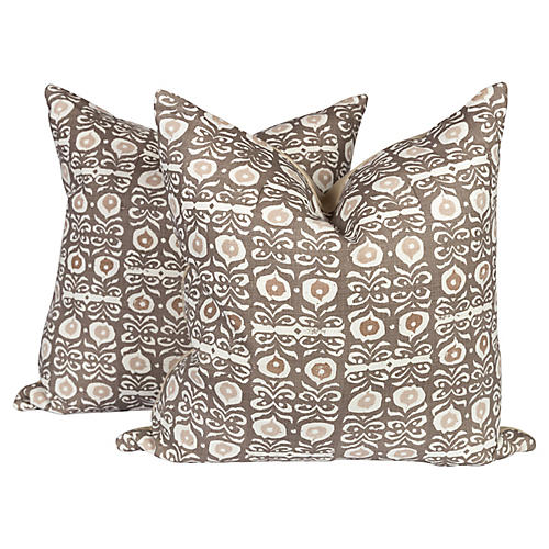 Iznik Boho Custom Linen Pillows, Pair