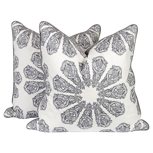 Gray Linen Batik Pillows, Pair