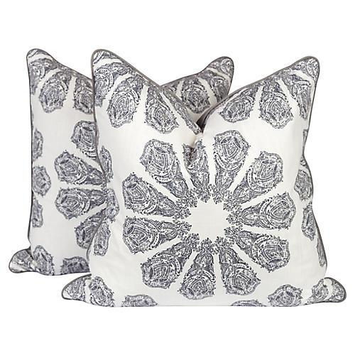 Gray Linen Batik Pillows, Pair