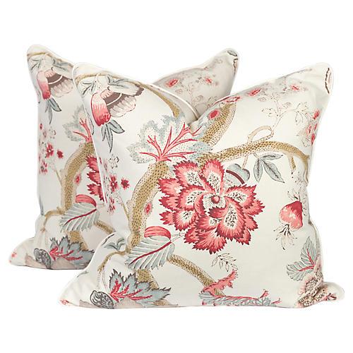 Linen Peony Punch Pillows, Pair