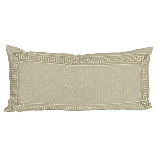 Sage Linen Greek Key Lumbar Pillow