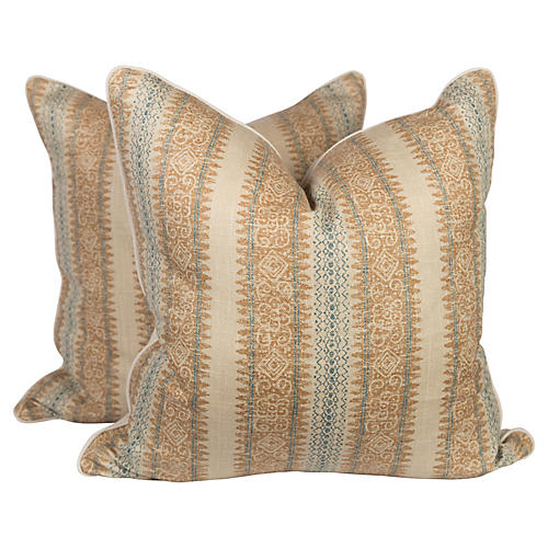 Tribal Linen Blend Ikat Pillows, Pr