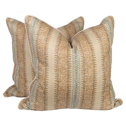 Tribal Linen Blend Ikat Pillows, Pr