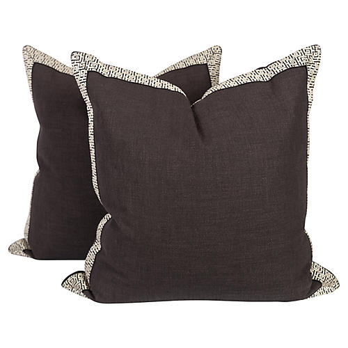 Charcoal Fretwork-Trim Pillows, Pair