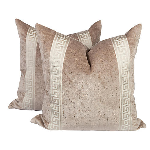 Champagne Velvet Greek Key Pillows, Pair