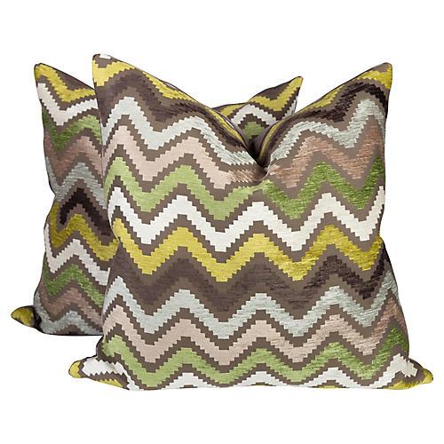 Cut Velvet Chevron Pillows, Pair