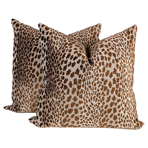 Chocolate Velvet Cheetah Pillows, Pr
