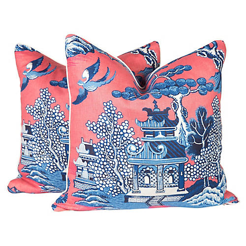 Chinoiserie Pagoda Toile Pillows, Pr