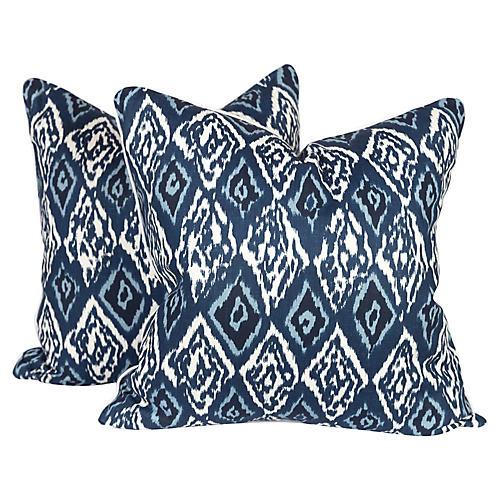 Blue Graffiti Ikat Pillows, Pair