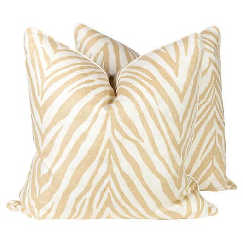 Caramel Linen Zebra Pillows, Pair