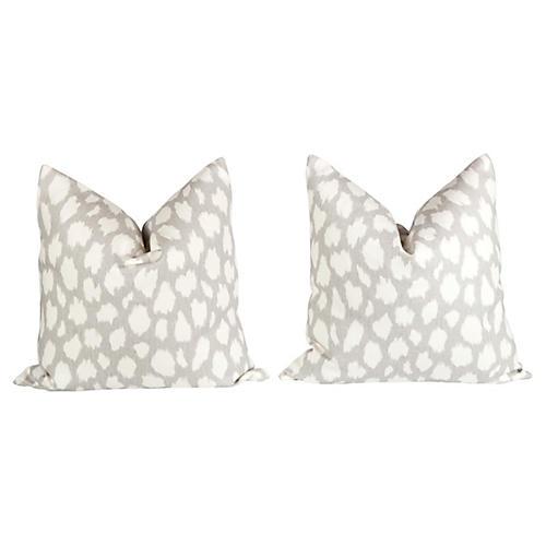 Linen Leopard Leokat Pattern Pillows, Pr