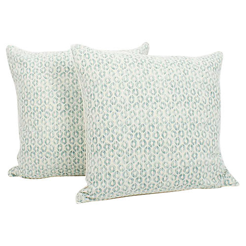 Seafoam Linen Ogee Blocked Pillows, Pair