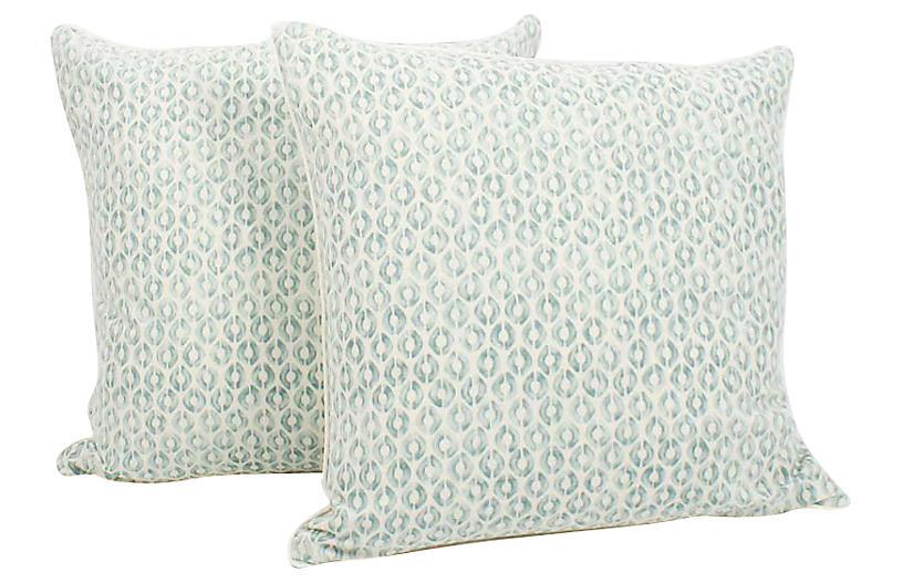 Seafoam Linen Ogee Blocked Pillows, Pair