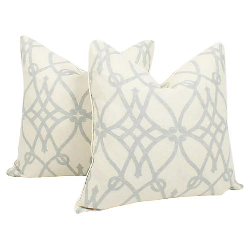 Blue & Ivory Linen Trellis Pillows, Pair