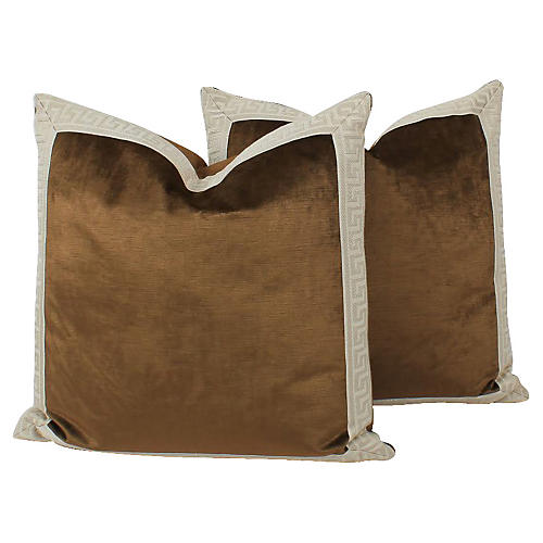 Coffee Velvet Greek Key Pillows, Pair