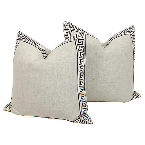 Greek Key Pillows, Pair