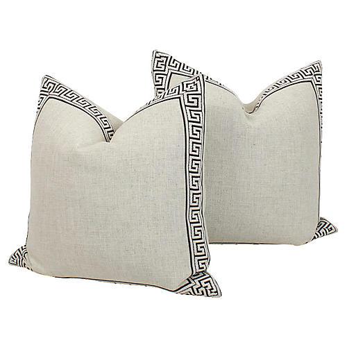 Greek Key Pillows, Pair