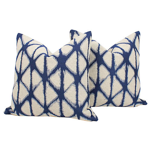 Indigo Batik Pillows, Pair