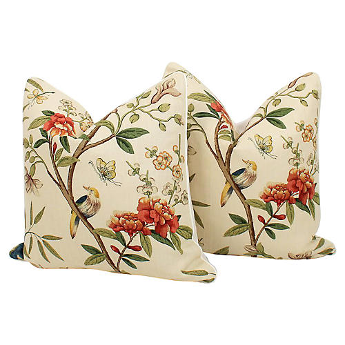 Peony Blossom Chinoiserie Pillows, Pair