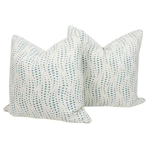 Light Turquoise Rippledrop Pillows, Pair
