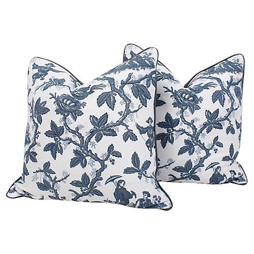 Scalamandré Toile Linen Pillows, Pair