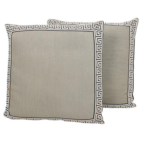 Charcoal & Slate Greek Key Pillows, Pair