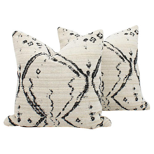 Cream & Black Tribal Pillows, Pair