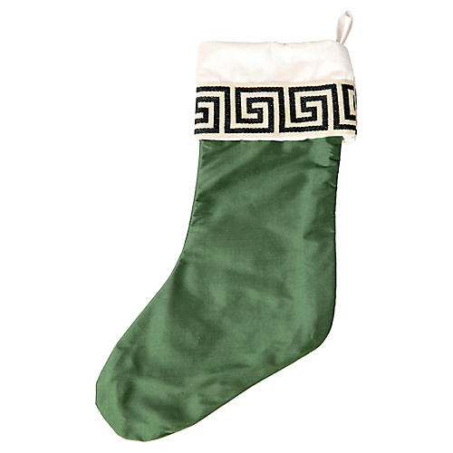 Emerald Silk Greek Key Stocking