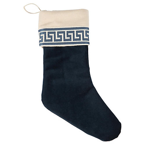 Navy Velvet Greek Key Stocking