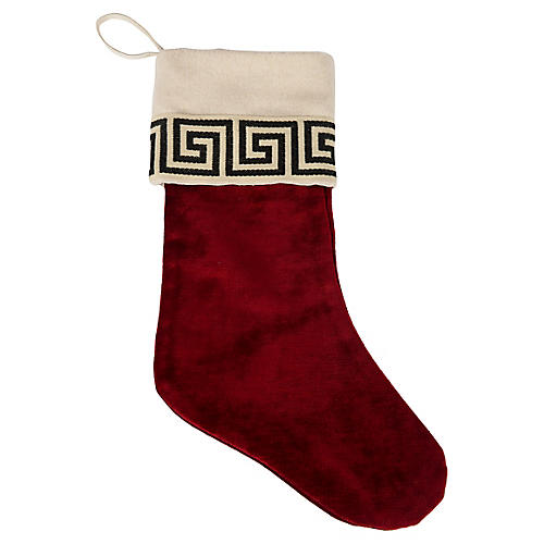 Red Velvet Greek Key Stocking